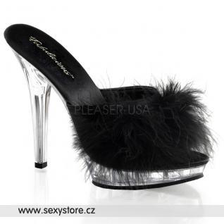 Sexy pantofle LIP-101-8/B/C černé průhledné skladem