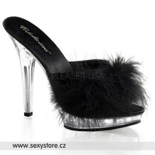 Sexy pantofle LIP-101-8/B/C černé průhledné