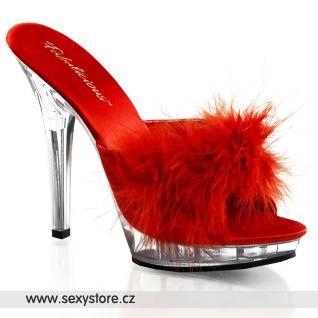Sexy pantofle LIP-101-8/R/C červené průhledné