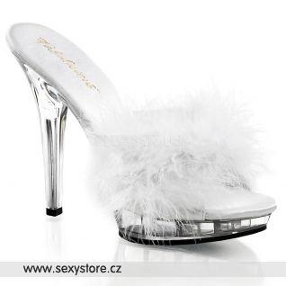 Sexy pantofle LIP-101-8/W/C bílé průhledné