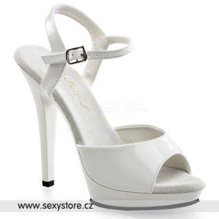 Bílá obuv na podpatku LIP-109/W/M