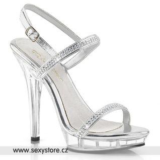 LIP-117/S/RS obuv na podpatku stříbrná/průhledná