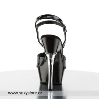 Sexy černá obuv ALLURE-609/B/M na podpatku a platformě