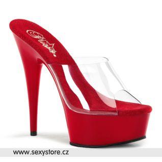 DELIGHT-601/C/R sexy boty na podpatku průhledná/červená