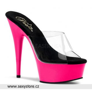 DELIGHT-601UV/C/NP svítící boty na podpatku průhledná/neon růžová