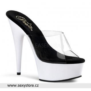 DELIGHT-601UV/C/NW svítící boty na podpatku průhledná/neon bílá
