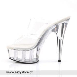 DELIGHT-602/C/M průhledné sexy boty na podpatku