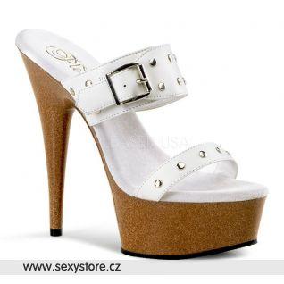 DELIGHT-602-9/W/LE sexy boty na podpatku bílá kůže žlutohnědá platforma