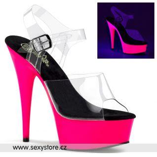 DELIGHT-608UV/C/NP růžové svítící sexy boty na podpatku