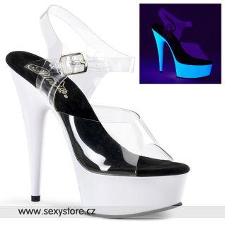 DELIGHT-608UV/C/NW svítící sexy boty průhledná/neon bílá
