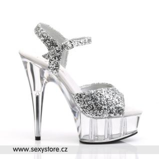 DELIGHT-609/SG/C sexy boty na podpatku stříbrné/průhledné