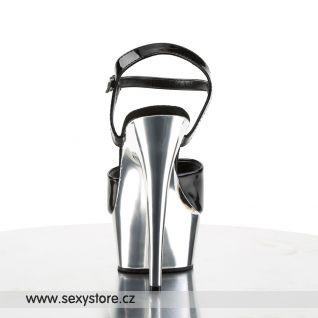 DELIGHT-609/B/SCH sexy obuv na podpatku černá/chromová