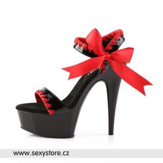 DELIGHT-615/BR/B sexy obuv na podpatku červená/černá