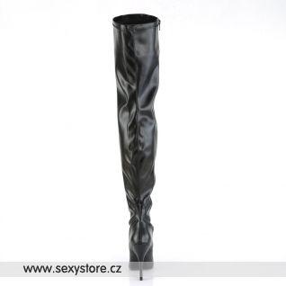 Černé matné vysoké dámské kozačky SEDUCE-3000/B/PU