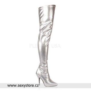 Stříbrné matné dámské kozačky SEDUCE-3000/S/PU