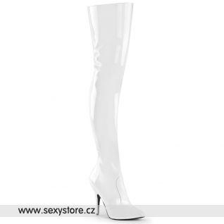Bílé vysoké kozačky SEDUCE-3010/W