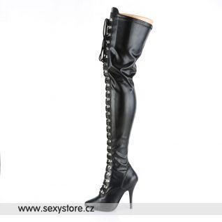 Černé matné vysoké erotické kozačky SEDUCE-3024/B/PU