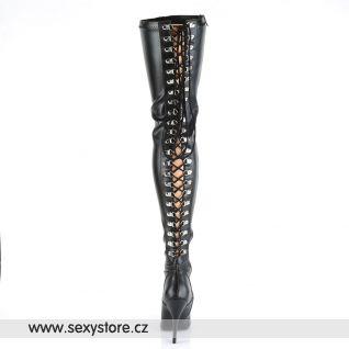 Černé matné vysoké erotické kozačky SEDUCE-3063/B/PU