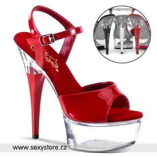 CAPTIVA-609/R/C sexy boty na podpatku červená/průhledná