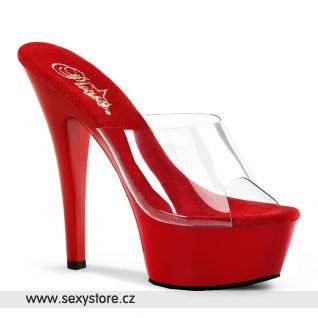 KISS-201/C/R sexy boty na podpatku průhledná/červená