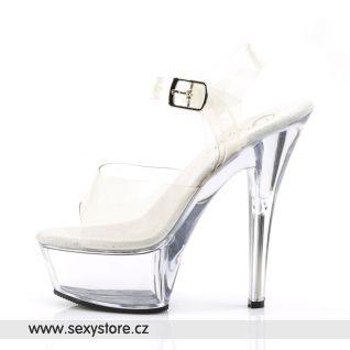 KISS-208/C/M sexy boty na podpatku průhledné