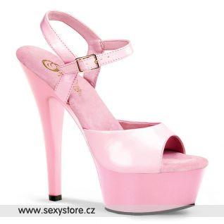 růžové sexy boty na podpatku KISS-209/BP/M