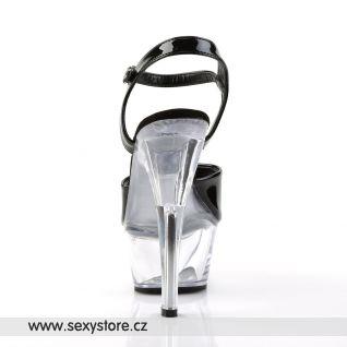 KISS-209/B/C sexy boty na podpatku černé/průhledné