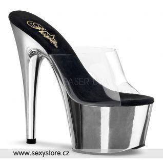 sexy obuv ADORE-701 průhledná/stříbrná