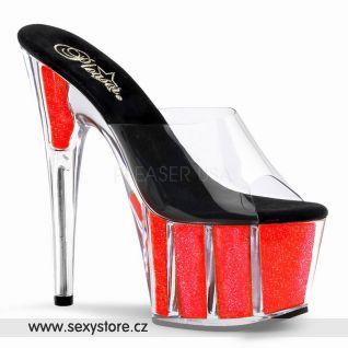 sexy obuv průhledná/Neon Coral ADORE-701NG
