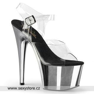 boty na podpatku chromová/průhledná ADORE-708