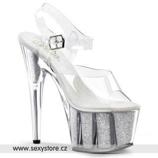 boty na podpatku průhledná/stříbrná ADORE-708G