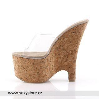 korkové boty na klínovém podpatku BEAU-601/C/CK
