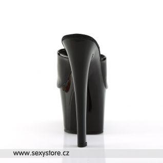 SKY-301/B/M černé lesklé boty na vysokém podpatku a platformě