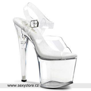 TABOO-708/C/M průhledné sexy boty na extra vysokém podpatku