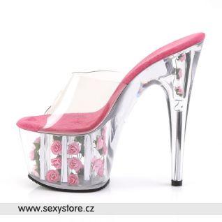 ADORE-701FL tmavě růžové sexy boty na podpatku