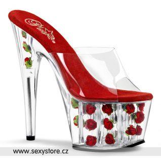 průhledná/červená květiny v platformě sexy boty ADORE-701FL na podpatku