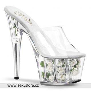 bílé květiny sexy boty na podpatku ADORE-701FL