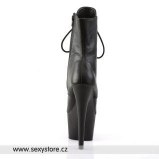 ADORE-1020 kotníčkové dámské kozačky černá kůže