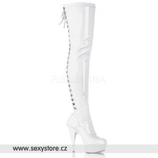 DELIGHT-3063 bílé dámské kozačky vysoké nad kolena