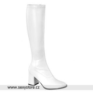 Bílé matné dámské kozačky GOGO-300/W/PU