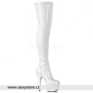 ADORE-3000 sexy bílé kozačky nad kolena