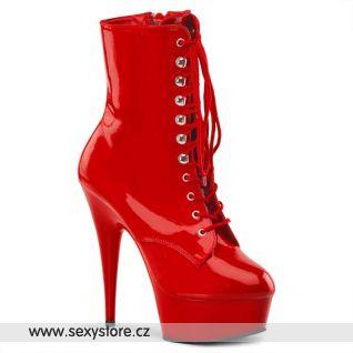 DELIGHT-1020 červené sexy kotníčkové kozačky Pleaser