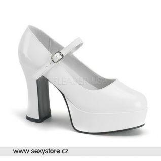 MARYJANE-50/W bílé lodičky na podpatku a platformě