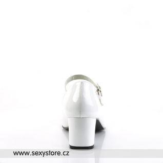 SCHOOLGIRL-50/W bílé lodičky na nízkém podpatku