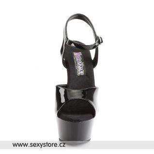 Černé sexy boty JULIET-209/B/M na podpatku s platformou
