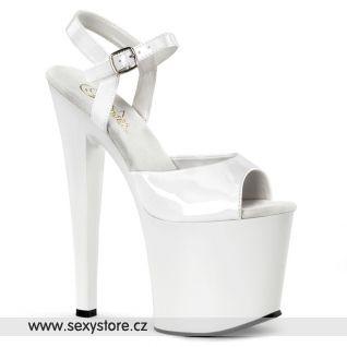 TABOO-709/W/M bílé boty na extra vysokém podpatku a platformě
