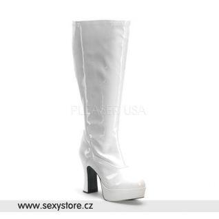 Bílé dámské kozačky EXOTICA-2000X/W rozšířené