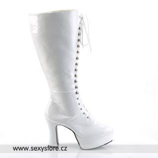 Bílé lesklé rozšířené dámské kozačky EXOTICA-2020X/W