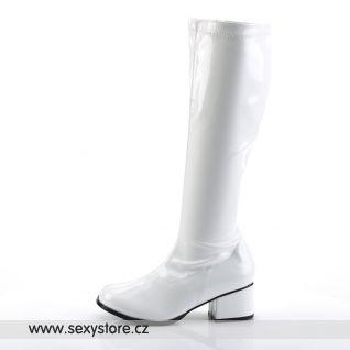 Bílé lakované kozačky RETRO-300/W