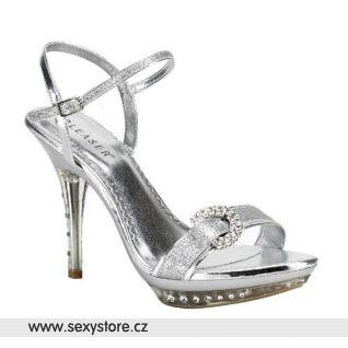 stříbrná plesová obuv MONET-09